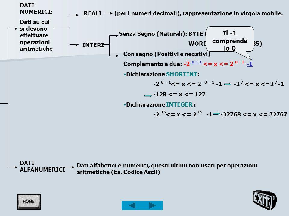 0<= x <= 65535) DATI NUMERICI: Dati su cui si devono effettuare operazioni aritmetiche INTERI Senza Segno (Naturali): BYTE (0<= x <= 255) WORD (0<= x