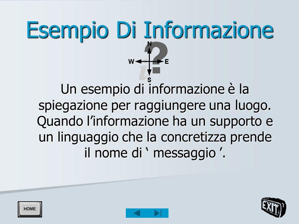 Esempio Di Informazione Un esempio di informazione è la spiegazione per raggiungere una luogo.