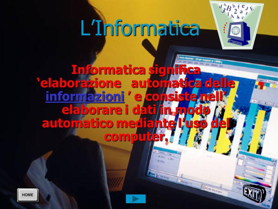 LInformatica Informatica significa elaborazione automatica delle informazioni e consiste nell elaborare i dati in modo automatico mediante luso del computer.