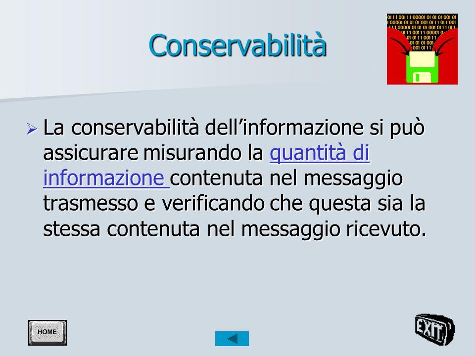 Conservabilità La conservabilità dellinformazione si può assicurare misurando la quantità di informazione contenuta nel messaggio trasmesso e verificando che questa sia la stessa contenuta nel messaggio ricevuto.