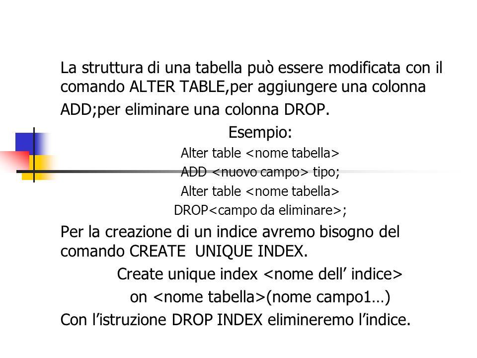La struttura di una tabella può essere modificata con il comando ALTER TABLE,per aggiungere una colonna ADD;per eliminare una colonna DROP.