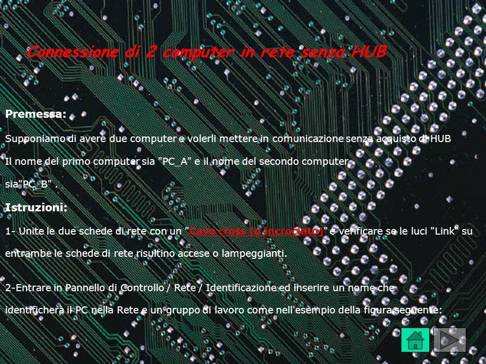 Connessione di 2 computer in rete senza HUB Premessa: Supponiamo di avere due computer e volerli mettere in comunicazione senza acquisto di HUB Il nom