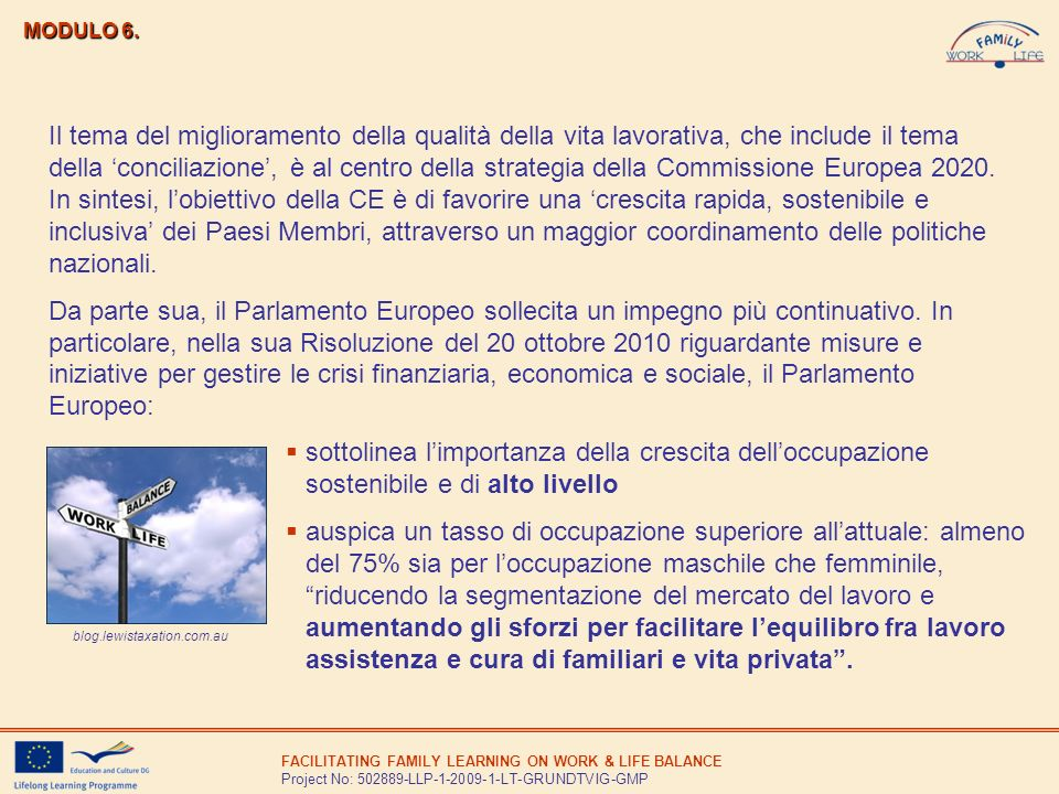 FACILITATING FAMILY LEARNING ON WORK & LIFE BALANCE Project No: 502889-LLP-1-2009-1-LT-GRUNDTVIG-GMP MODULO 6. sottolinea limportanza della crescita d