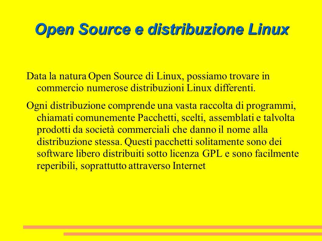 Open Source e distribuzione Linux Data la natura Open Source di Linux, possiamo trovare in commercio numerose distribuzioni Linux differenti. Ogni dis
