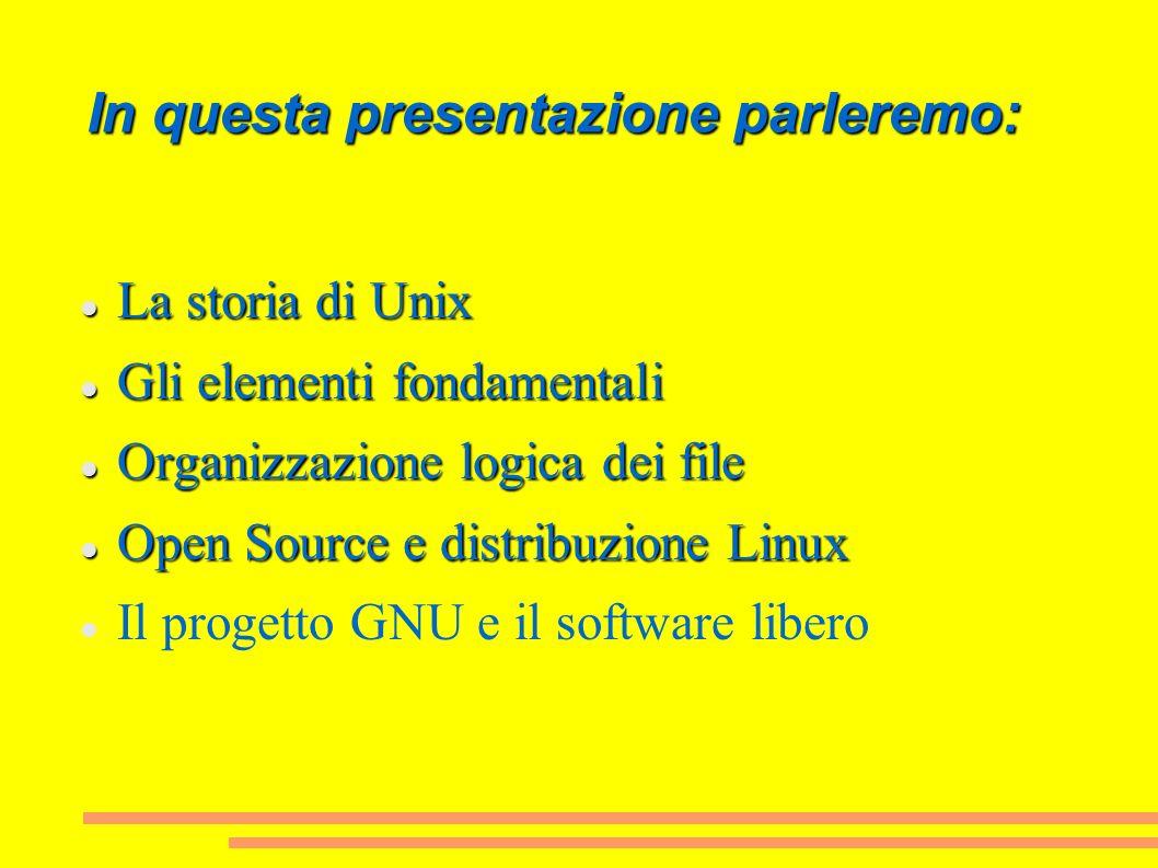 In questa presentazione parleremo: La storia di Unix La storia di Unix Gli elementi fondamentali Gli elementi fondamentali Organizzazione logica dei f