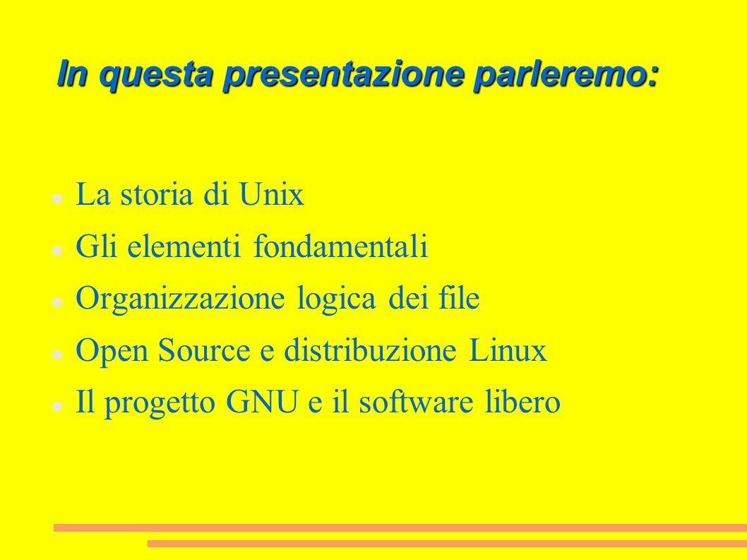 In questa presentazione parleremo: La storia di Unix Gli elementi fondamentali Organizzazione logica dei file Open Source e distribuzione Linux Il pro