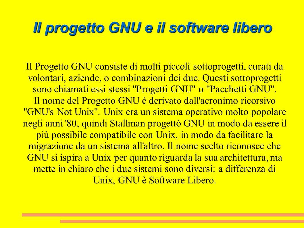 Il progetto GNU e il software libero Il Progetto GNU consiste di molti piccoli sottoprogetti, curati da volontari, aziende, o combinazioni dei due. Qu