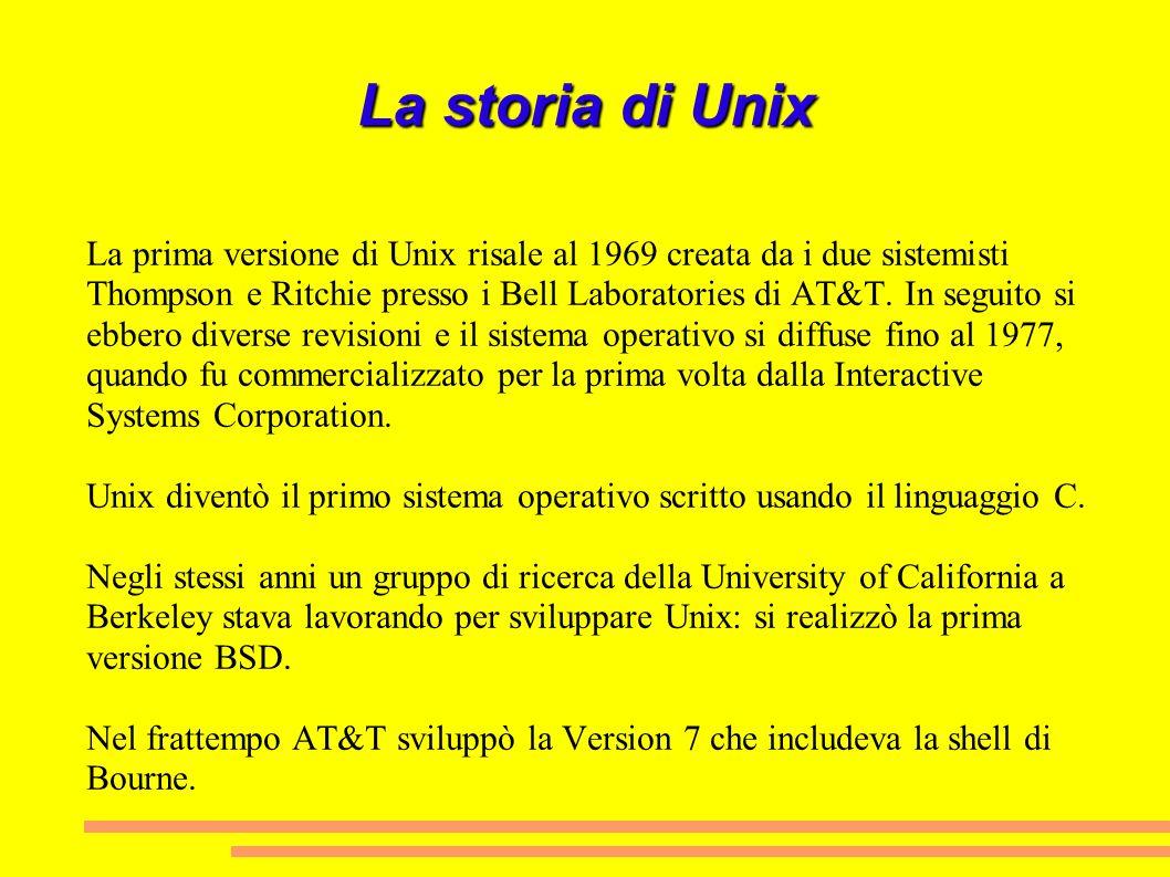 La storia di Unix La prima versione di Unix risale al 1969 creata da i due sistemisti Thompson e Ritchie presso i Bell Laboratories di AT&T. In seguit