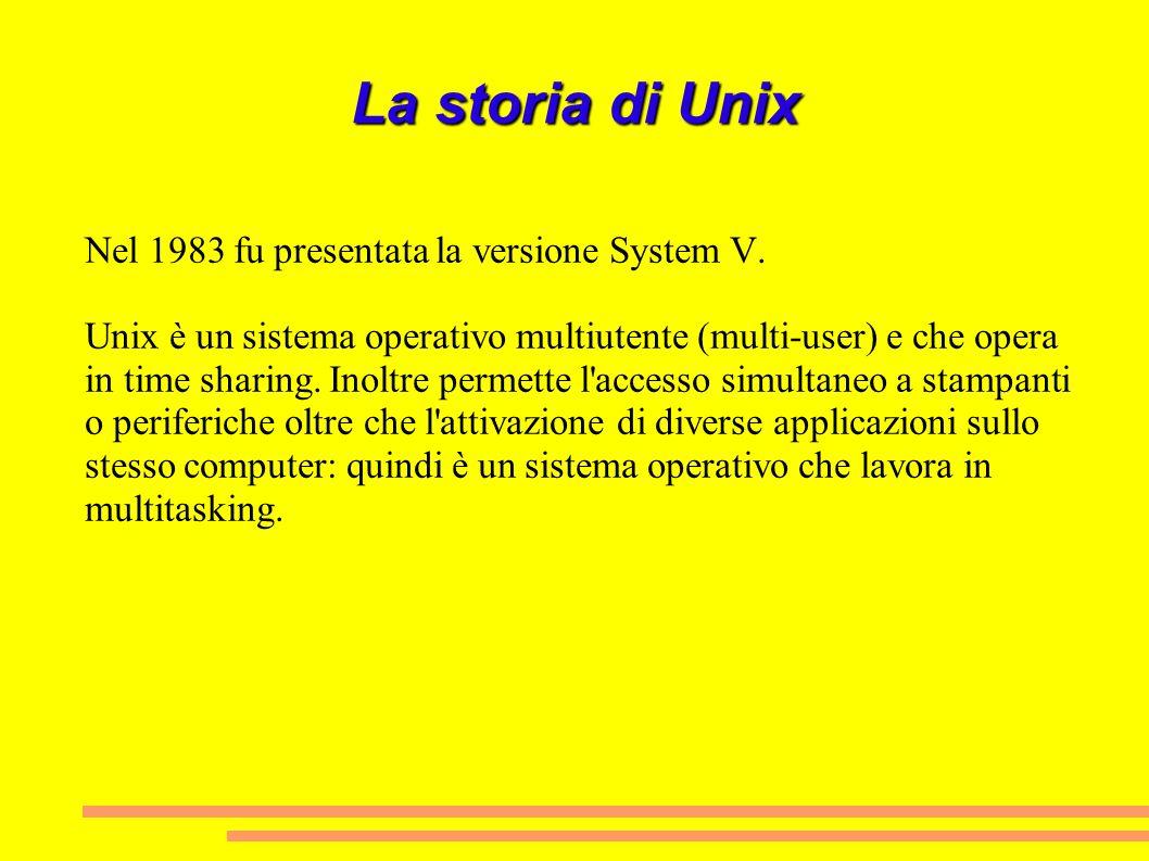 La storia di Unix Nel 1983 fu presentata la versione System V. Unix è un sistema operativo multiutente (multi-user) e che opera in time sharing. Inolt