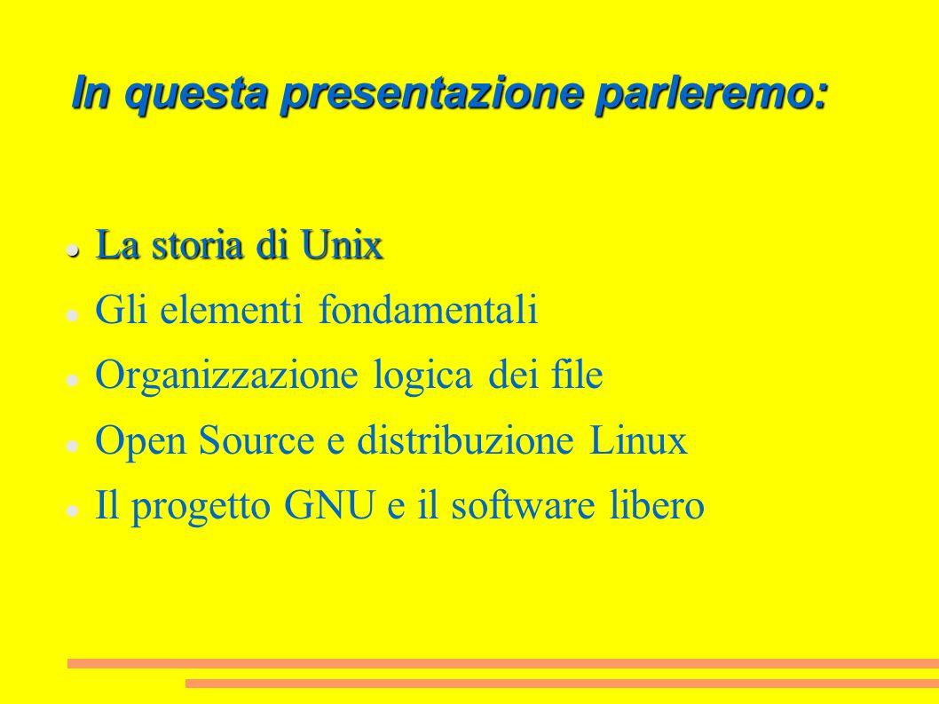 In questa presentazione parleremo: La storia di Unix La storia di Unix Gli elementi fondamentali Organizzazione logica dei file Open Source e distribu