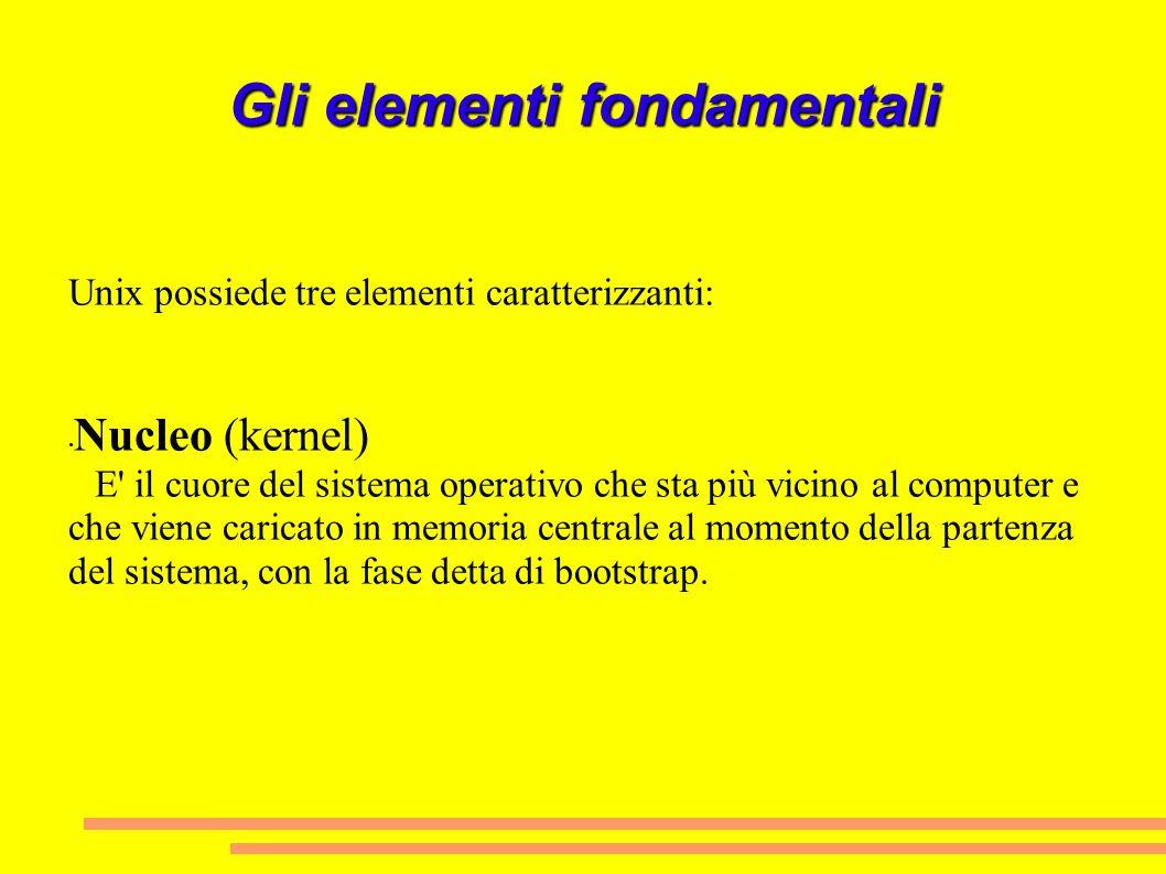 Gli elementi fondamentali Unix possiede tre elementi caratterizzanti: Nucleo (kernel) E' il cuore del sistema operativo che sta più vicino al computer