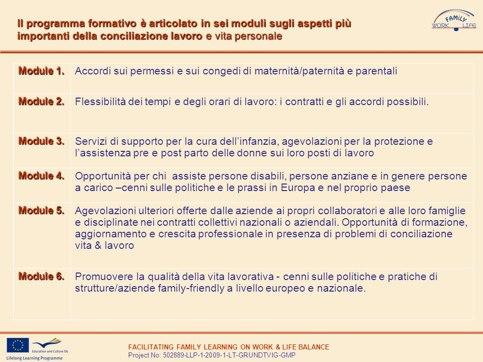 FACILITATING FAMILY LEARNING ON WORK & LIFE BALANCE Project No: 502889-LLP-1-2009-1-LT-GRUNDTVIG-GMP Il programma formativo è articolato in sei moduli