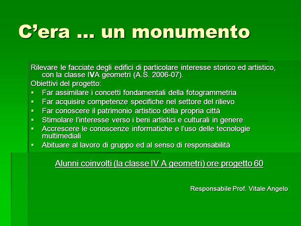 Cera … un monumento Rilevare le facciate degli edifici di particolare interesse storico ed artistico, con la classe IVA geometri (A.S. 2006-07). Obiet