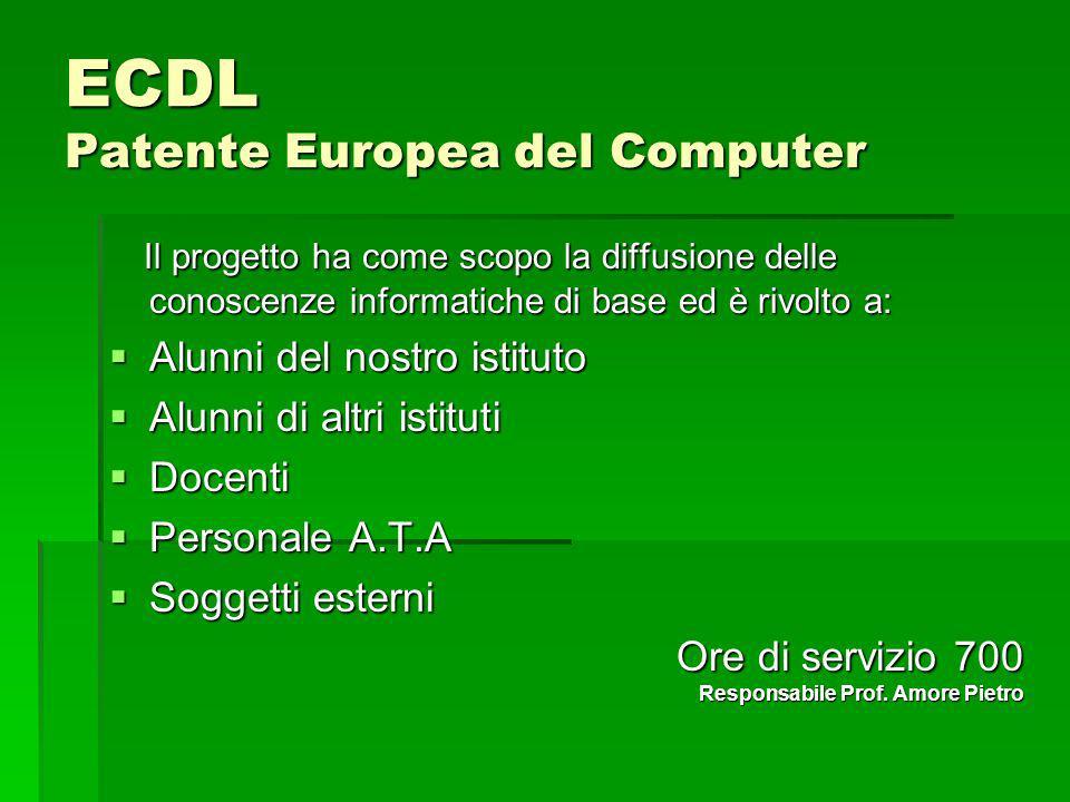 ECDL Patente Europea del Computer Il progetto ha come scopo la diffusione delle conoscenze informatiche di base ed è rivolto a: Il progetto ha come sc