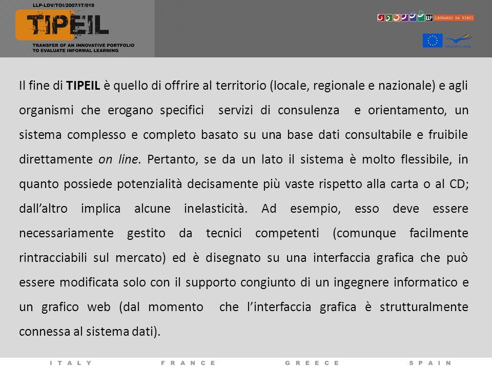 Il fine di TIPEIL è quello di offrire al territorio (locale, regionale e nazionale) e agli organismi che erogano specifici servizi di consulenza e ori