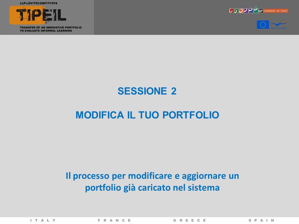 SESSIONE 2 MODIFICA IL TUO PORTFOLIO Il processo per modificare e aggiornare un portfolio già caricato nel sistema