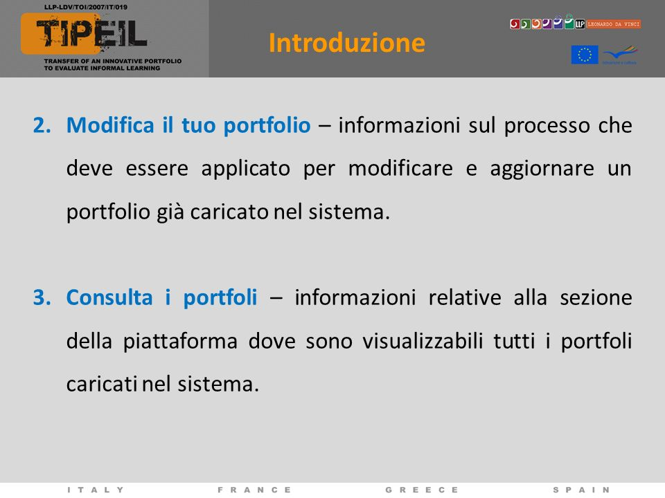 2.Modifica il tuo portfolio – informazioni sul processo che deve essere applicato per modificare e aggiornare un portfolio già caricato nel sistema. 3