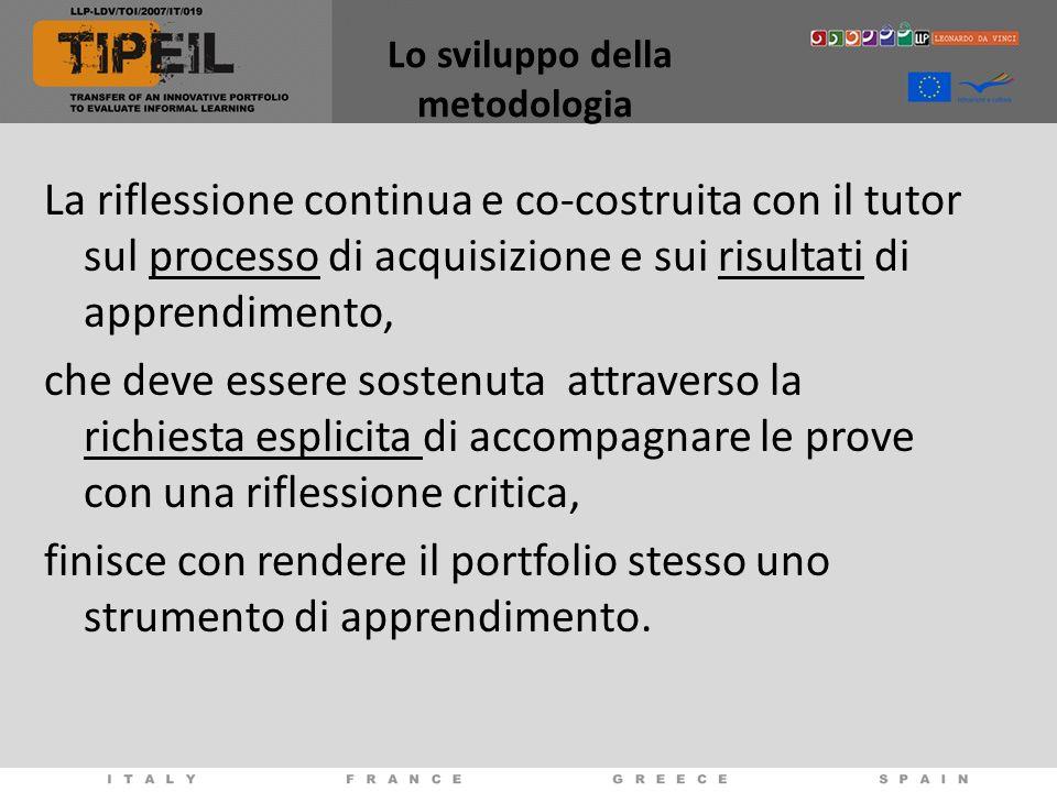 Lo sviluppo della metodologia La riflessione continua e co-costruita con il tutor sul processo di acquisizione e sui risultati di apprendimento, che d