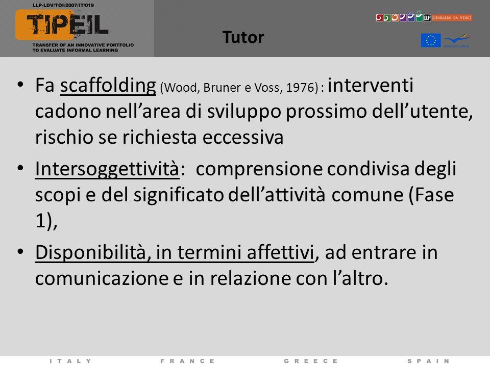 Tutor Fa scaffolding (Wood, Bruner e Voss, 1976) : interventi cadono nellarea di sviluppo prossimo dellutente, rischio se richiesta eccessiva Intersog