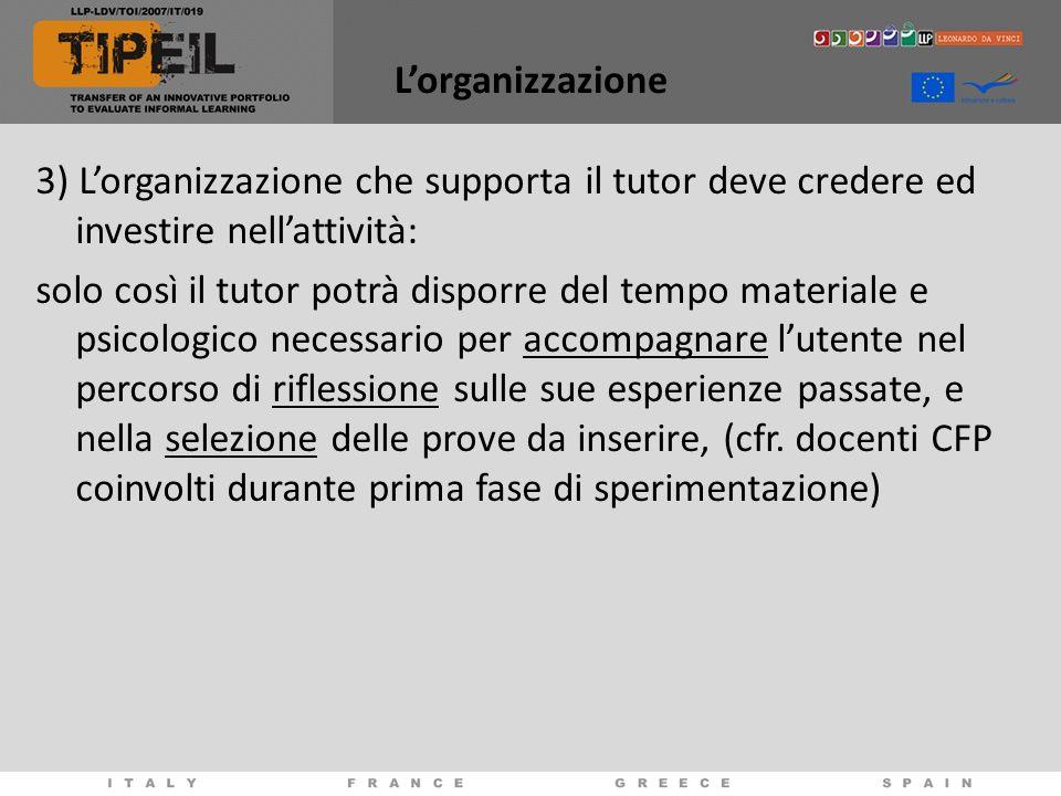 Lorganizzazione 3) Lorganizzazione che supporta il tutor deve credere ed investire nellattività: solo così il tutor potrà disporre del tempo materiale