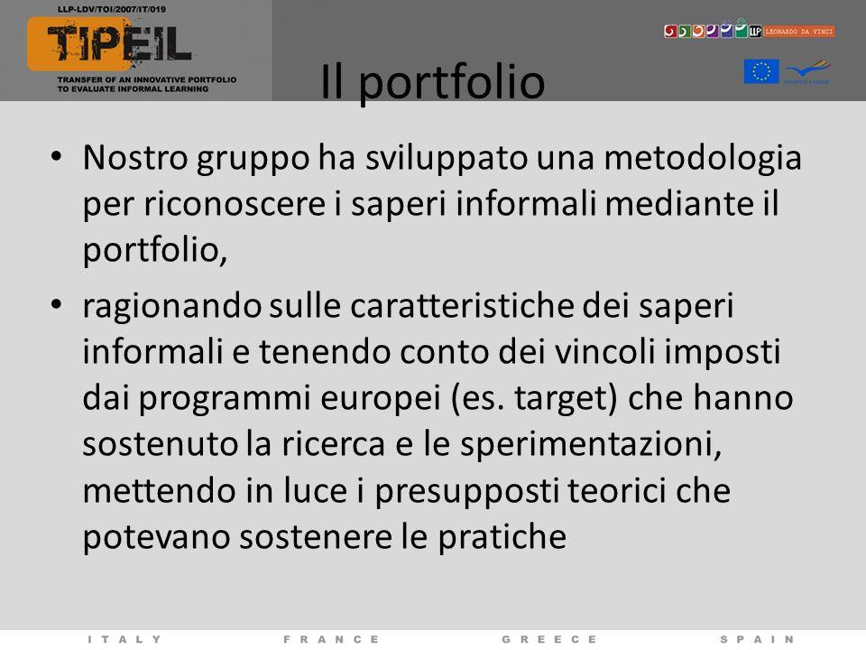 Il portfolio Nostro gruppo ha sviluppato una metodologia per riconoscere i saperi informali mediante il portfolio, ragionando sulle caratteristiche de
