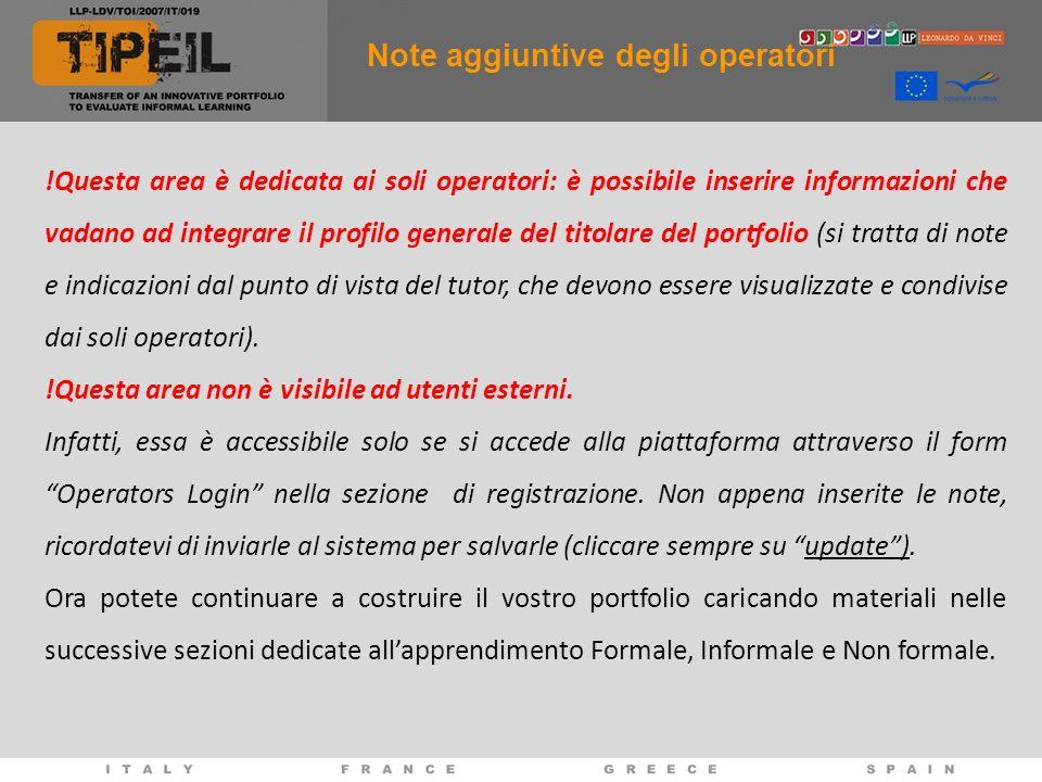 !Questa area è dedicata ai soli operatori: è possibile inserire informazioni che vadano ad integrare il profilo generale del titolare del portfolio (s