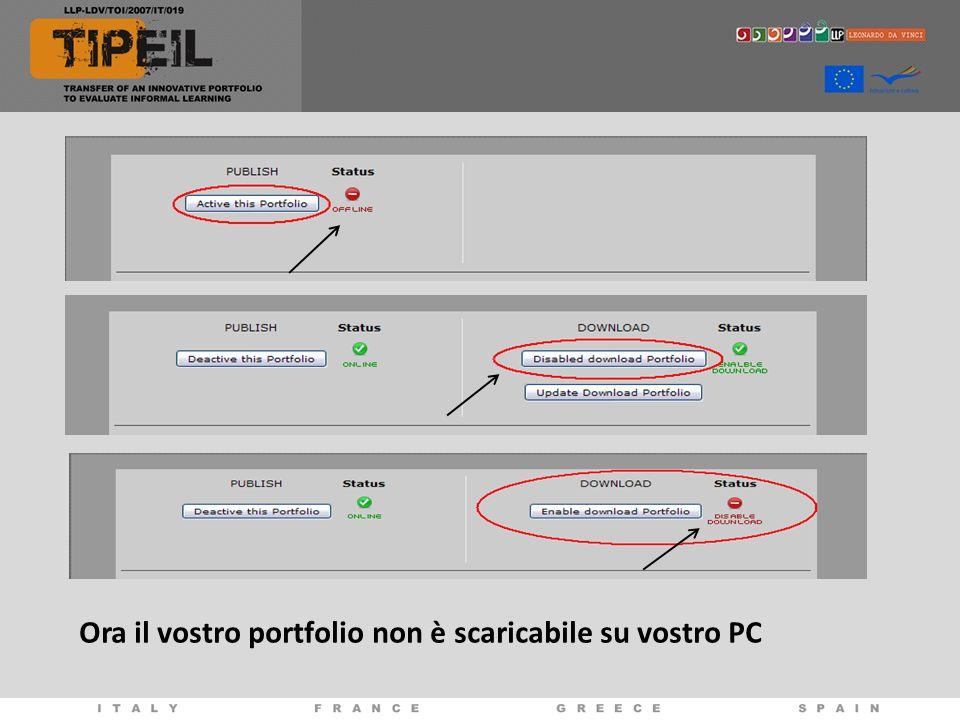 Ora il vostro portfolio non è scaricabile su vostro PC