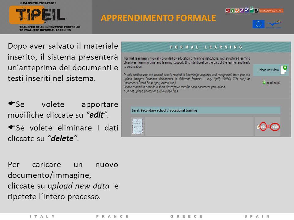 Dopo aver salvato il materiale inserito, il sistema presenterà unanteprima dei documenti e testi inseriti nel sistema. Se volete apportare modifiche c