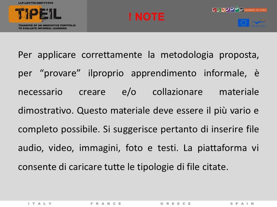 Per applicare correttamente la metodologia proposta, per provare ilproprio apprendimento informale, è necessario creare e/o collazionare materiale dim