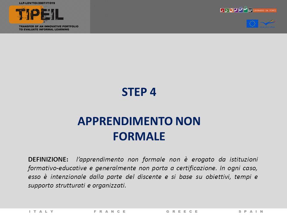 STEP 4 APPRENDIMENTO NON FORMALE DEFINIZIONE: lapprendimento non formale non è erogato da istituzioni formativo-educative e generalmente non porta a c