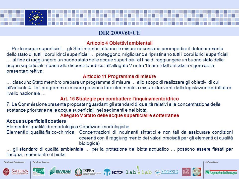 DIR 2000/60/CE Articolo 4 Obiettivi ambientali... Per le acque superficiali... gli Stati membri attuano le misure necessarie per impedire il deteriora