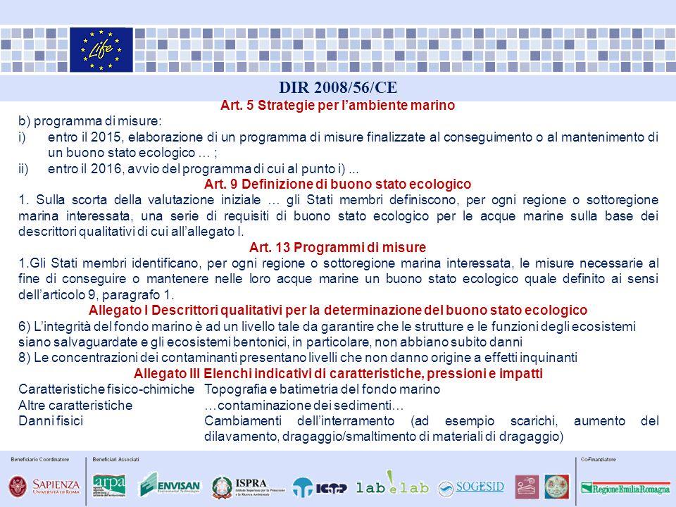 DIR 2008/56/CE Art. 5 Strategie per lambiente marino b) programma di misure: i)entro il 2015, elaborazione di un programma di misure finalizzate al co