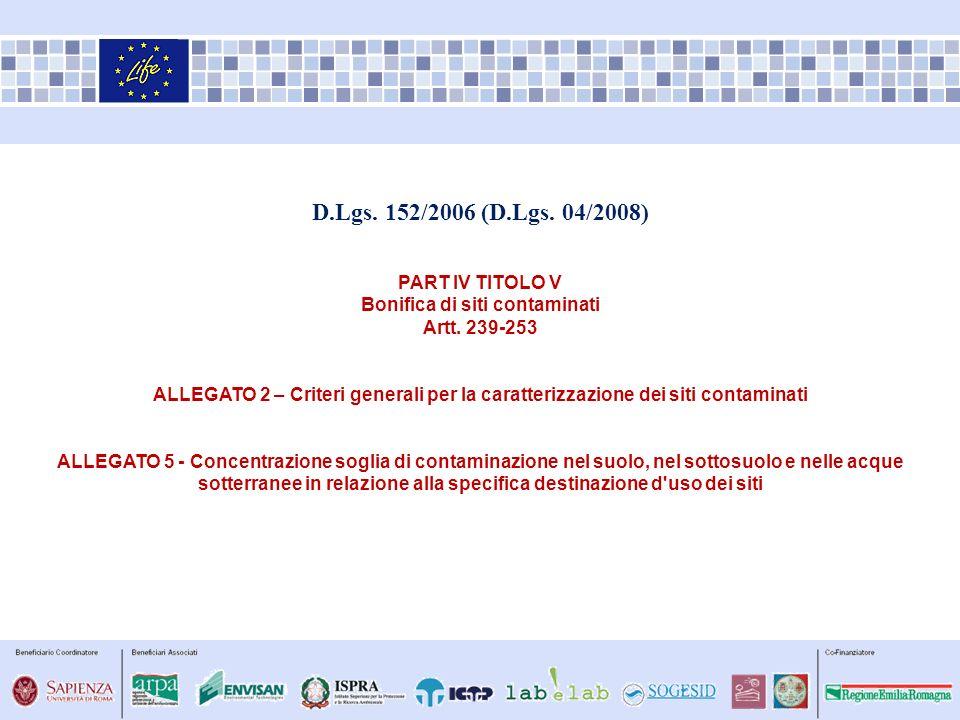 D.Lgs. 152/2006 (D.Lgs. 04/2008) PART IV TITOLO V Bonifica di siti contaminati Artt. 239-253 ALLEGATO 2 – Criteri generali per la caratterizzazione de