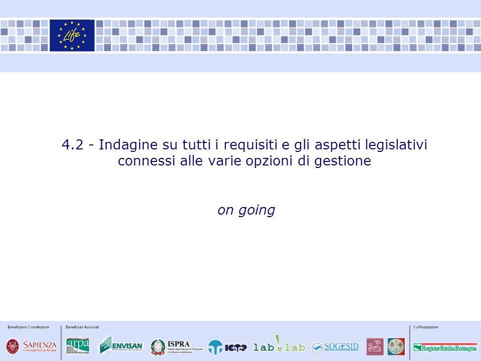 4.2 - Indagine su tutti i requisiti e gli aspetti legislativi connessi alle varie opzioni di gestione on going