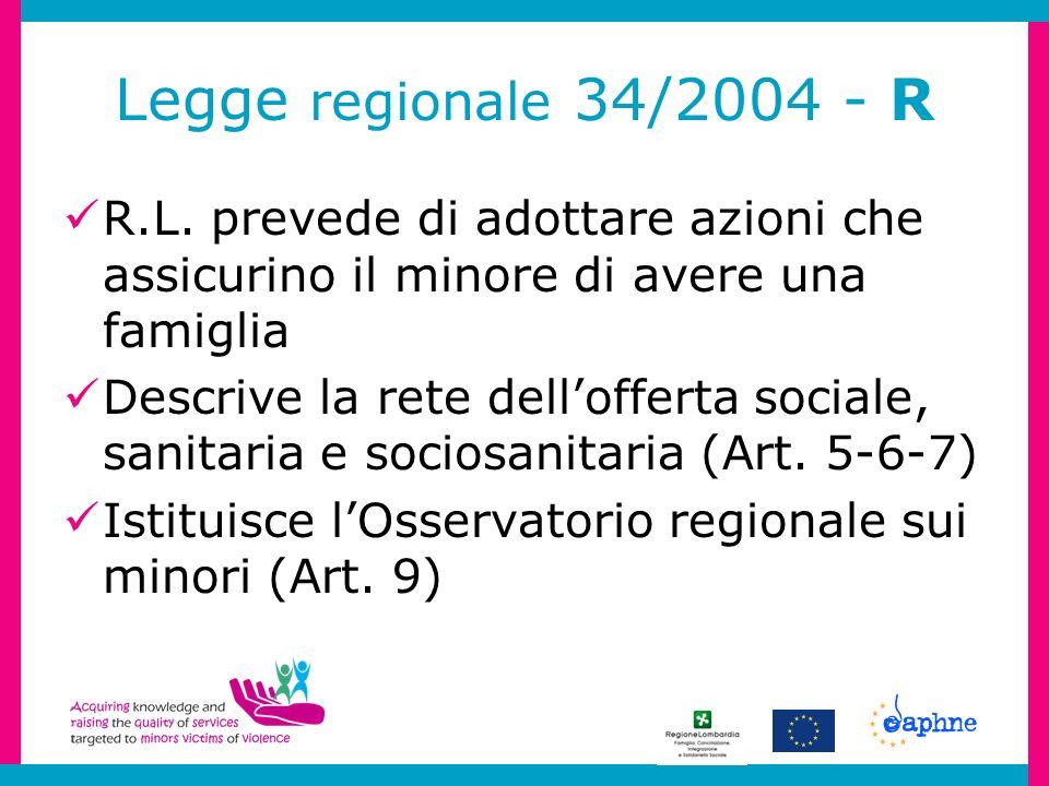 Legge regionale 34/2004 - R R.L. prevede di adottare azioni che assicurino il minore di avere una famiglia Descrive la rete dellofferta sociale, sanit