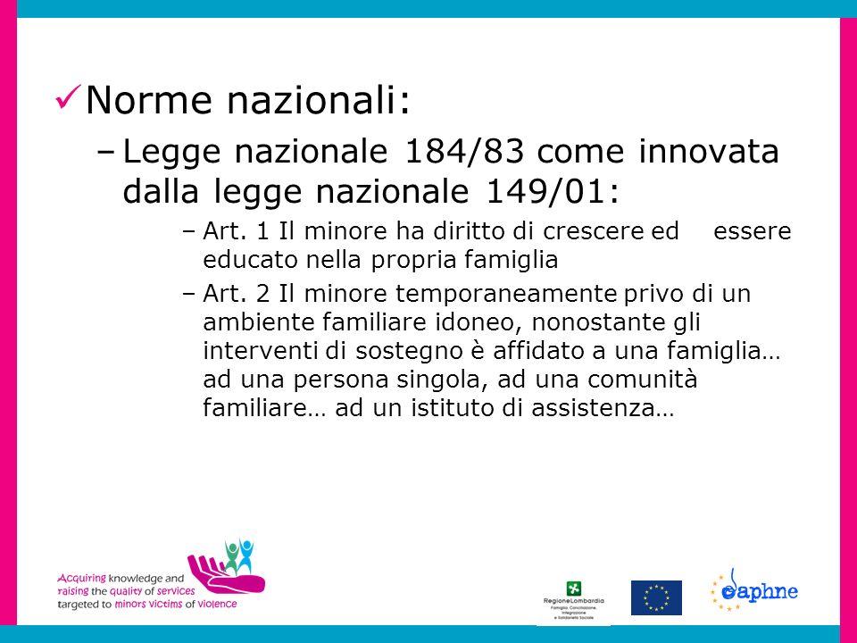 Norme nazionali: –Legge nazionale 184/83 come innovata dalla legge nazionale 149/01: –Art. 1 Il minore ha diritto di crescere ed essere educato nella