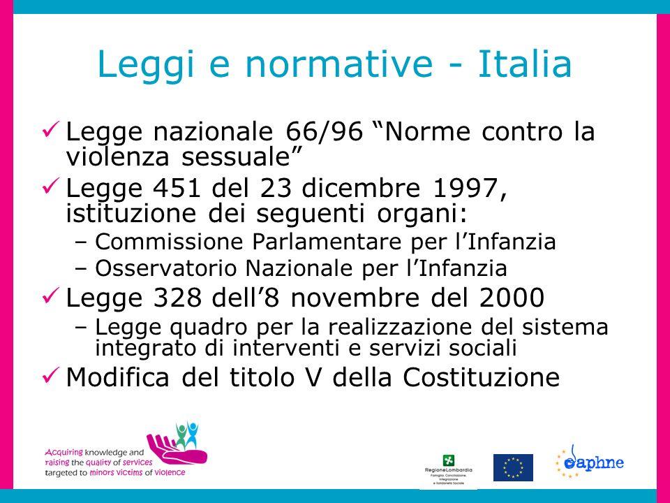 Leggi e normative - Italia Legge nazionale 66/96 Norme contro la violenza sessuale Legge 451 del 23 dicembre 1997, istituzione dei seguenti organi: –C
