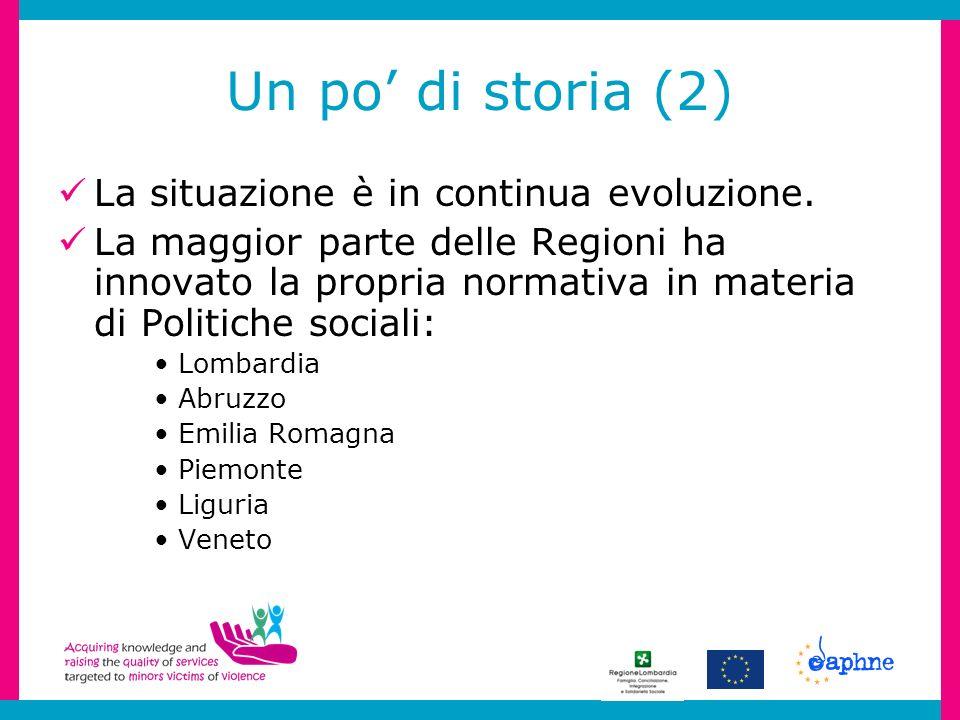 Un po di storia (2) La situazione è in continua evoluzione. La maggior parte delle Regioni ha innovato la propria normativa in materia di Politiche so
