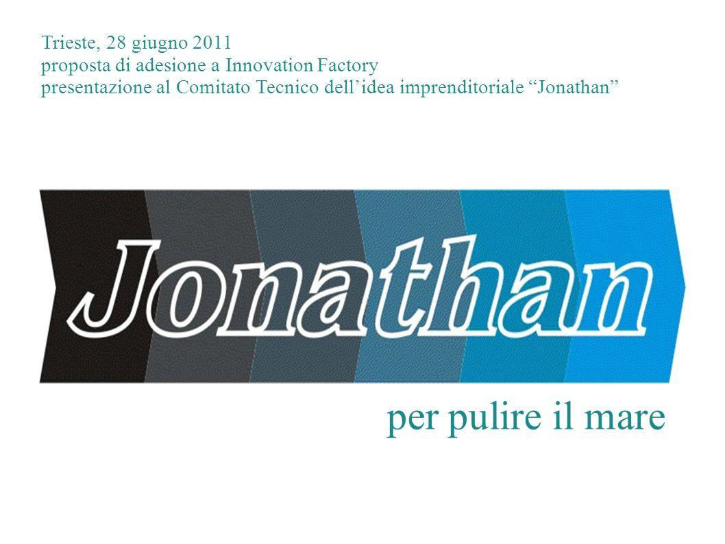 per pulire il mare Trieste, 28 giugno 2011 proposta di adesione a Innovation Factory presentazione al Comitato Tecnico dellidea imprenditoriale Jonath