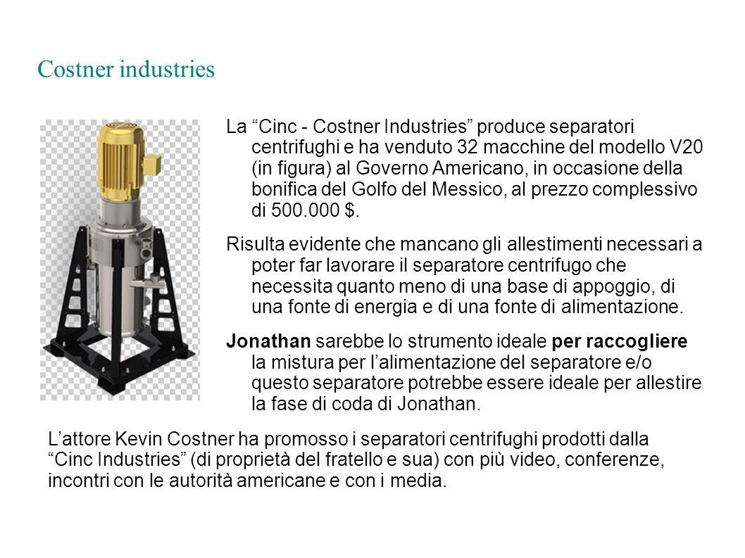 Costner industries La Cinc - Costner Industries produce separatori centrifughi e ha venduto 32 macchine del modello V20 (in figura) al Governo America