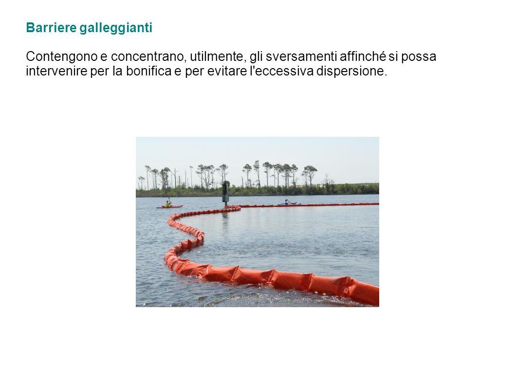 Barriere galleggianti Contengono e concentrano, utilmente, gli sversamenti affinché si possa intervenire per la bonifica e per evitare l'eccessiva dis