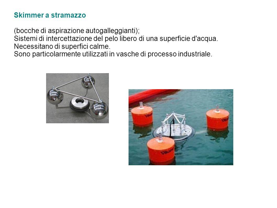Skimmer a stramazzo (bocche di aspirazione autogalleggianti); Sistemi di intercettazione del pelo libero di una superficie d'acqua. Necessitano di sup