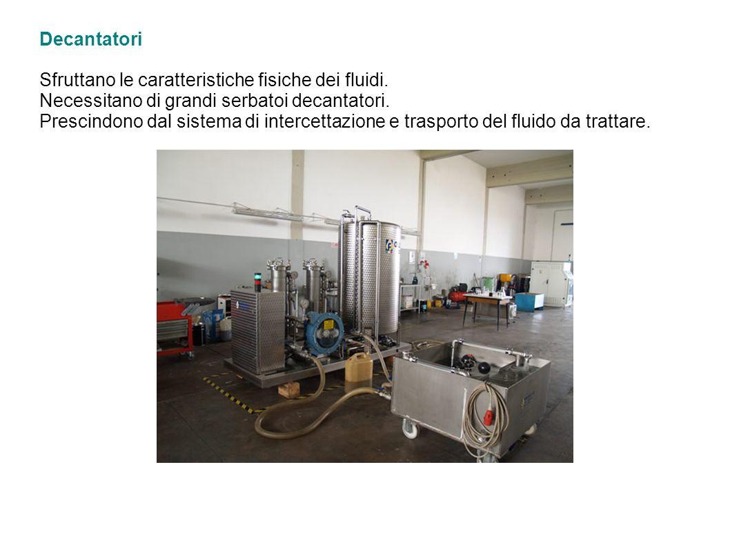 Decantatori Sfruttano le caratteristiche fisiche dei fluidi. Necessitano di grandi serbatoi decantatori. Prescindono dal sistema di intercettazione e
