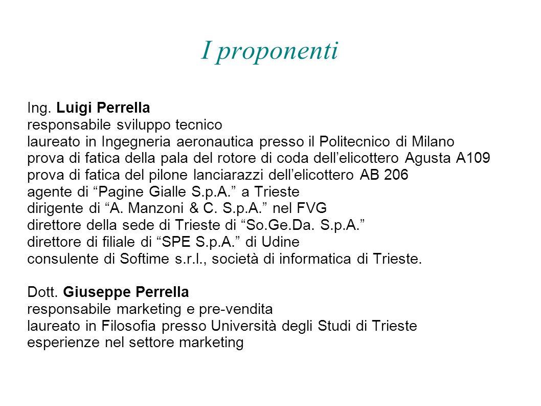 I proponenti Ing. Luigi Perrella responsabile sviluppo tecnico laureato in Ingegneria aeronautica presso il Politecnico di Milano prova di fatica dell