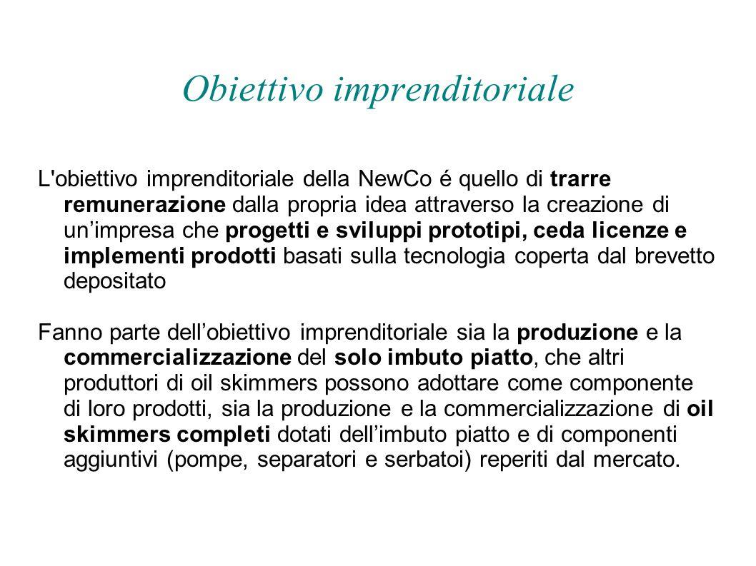 Obiettivo imprenditoriale L'obiettivo imprenditoriale della NewCo é quello di trarre remunerazione dalla propria idea attraverso la creazione di unimp