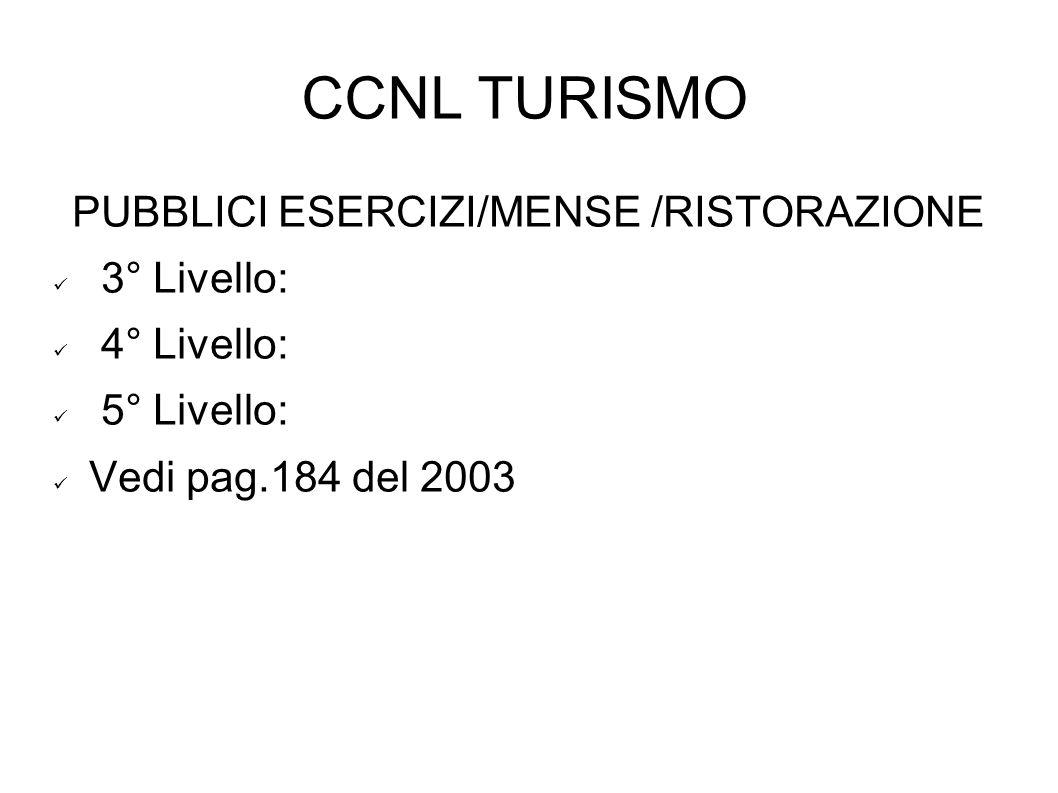 CCNL TURISMO PUBBLICI ESERCIZI/MENSE /RISTORAZIONE 3° Livello: 4° Livello: 5° Livello: Vedi pag.184 del 2003