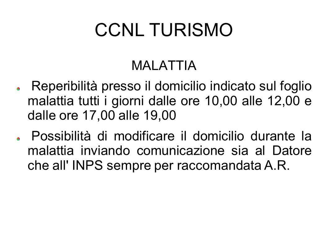 CCNL TURISMO MALATTIA Reperibilità presso il domicilio indicato sul foglio malattia tutti i giorni dalle ore 10,00 alle 12,00 e dalle ore 17,00 alle 1