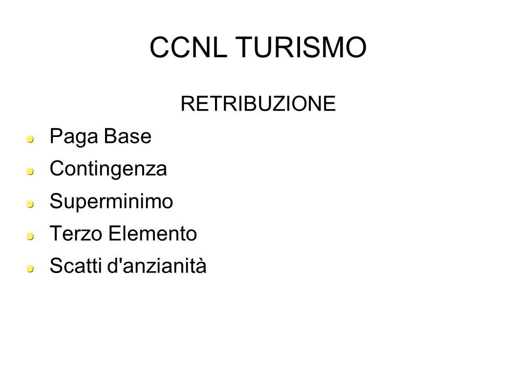 CCNL TURISMO RETRIBUZIONE Paga Base Contingenza Superminimo Terzo Elemento Scatti d'anzianità