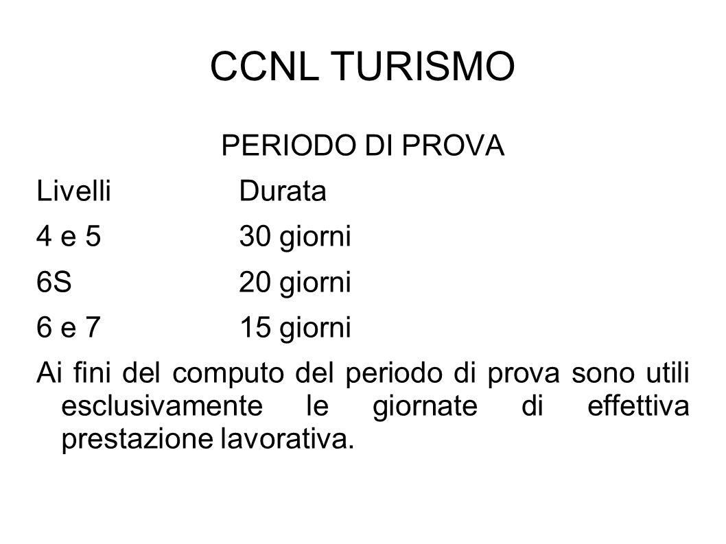 CCNL TURISMO PERIODO DI PROVA Livelli Durata 4 e 5 30 giorni 6S 20 giorni 6 e 7 15 giorni Ai fini del computo del periodo di prova sono utili esclusiv