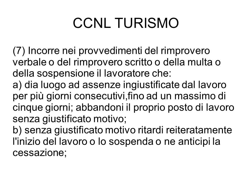 CCNL TURISMO (7) Incorre nei provvedimenti del rimprovero verbale o del rimprovero scritto o della multa o della sospensione il lavoratore che: a) dia